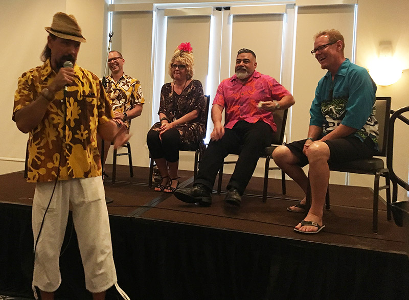 The Everything You Wanted to Know About Tiki Mugs symposium at The Hukilau 2019 was hosted by Crazy Al Evans and featured some of today's top designers and creators (from left): Henrik Van Ryzin (VanTiki), Baï, Danny Gallardo (Tiki Diablo), and John Mulder (Eekum Bookum)