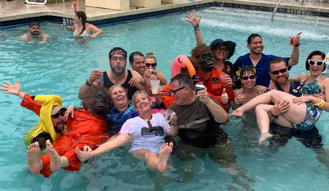 Sunday's shenanigans included a dip in the pool with The Disasternauts following their final set at Pier Sixty-Six