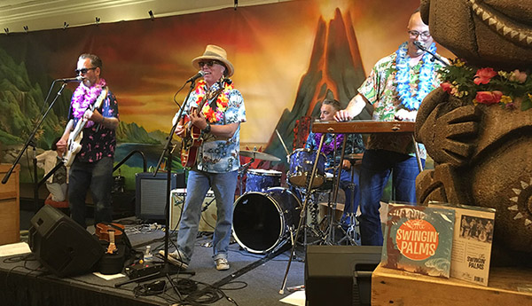 The Swingin' Palms set the laid-back mood in the Tiki Treasures Bazaar