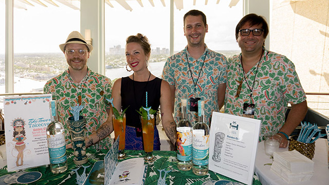 Hidden Harbor's cocktails featured their own proprietary rum. The Pittsburgh bar team poses in the Pier Sixty-Sixy skylounge before the start of the Tiki Tower Takeover