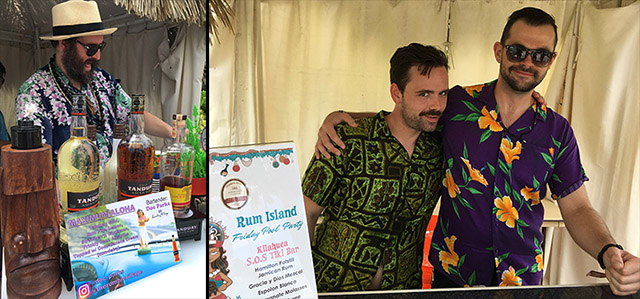 Doc Parks of Zombie Village in San Francisco (left) and bartenders from Atlanta's S.O.S. Tiki Bar mix up cocktails during the Rum Island Pool Party on Friday
