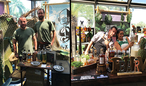 Rum sponsors Tiki Lovers (left) plus Don Q and Rums of Puerto Rico provide free samples to villagers