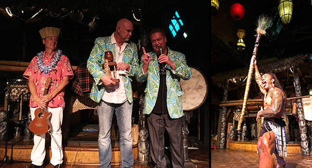 Dave Levy, The Mai-Kai's owner and general manager, admonishes The Hukilau's Richard Oneslager for not checking with him first before selecting his jacket for the Saturday night party. A bemused King Kukulele looks on. A Polynesian Islander Revue performer (right) is not amused either