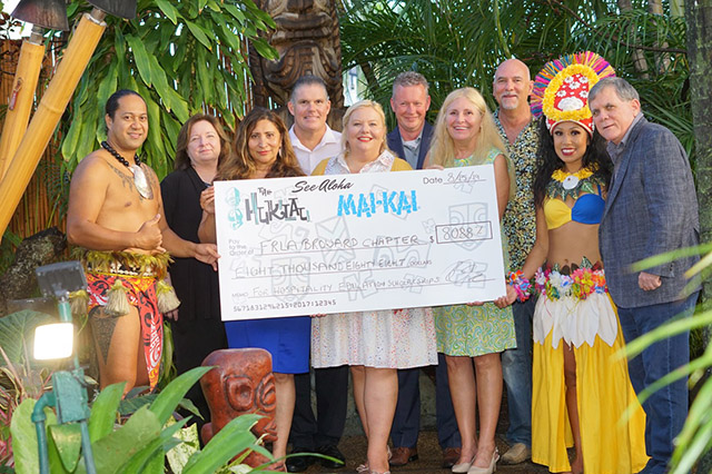 On Aug. 15, a check for $8,088 was presented by The Hukilau's owner, Richard Oneslager, to the Broward chapter of the FRLA at The Mai-Kai