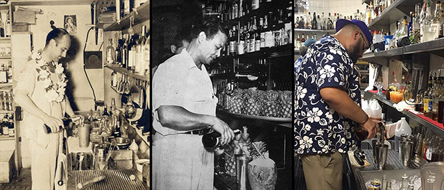 Donn Beach (1930s), Mariano Licudine (1960s), and a current Mai-Kai bartender (2019)