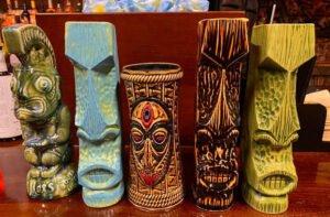 A selection of mugs at Max's South Seas Hideaway.
