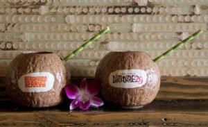 Beachbum Berry and Latitude 29 custom ceramic coconut mugs from Cocktail Kingdom