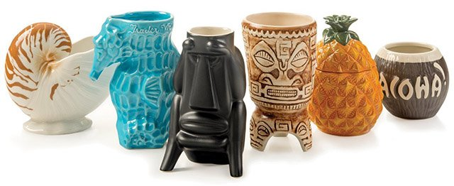 A selection of Trader Vic's mugs