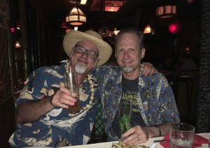 Hurricane Hayward shares a Zombie with Beachbum Berry at The Mai-Kai on Halloween 2018. (Atomic Grog photo)