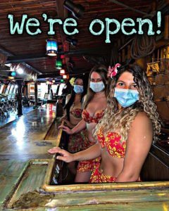 The Molokai bar servers are ready for the reopening of The Mai-Kai on May 29. (Mai-Kai photo)
