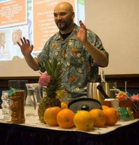 Oriol Elias presents a cocktail seminar on Tiki in Spain at the 2017 Miami Rum Renaissance Festival. (Atomic Grog photo)