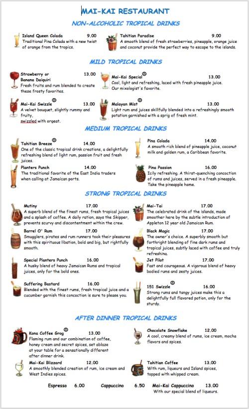 The Mai-Kai's summer 2020 cocktail menu