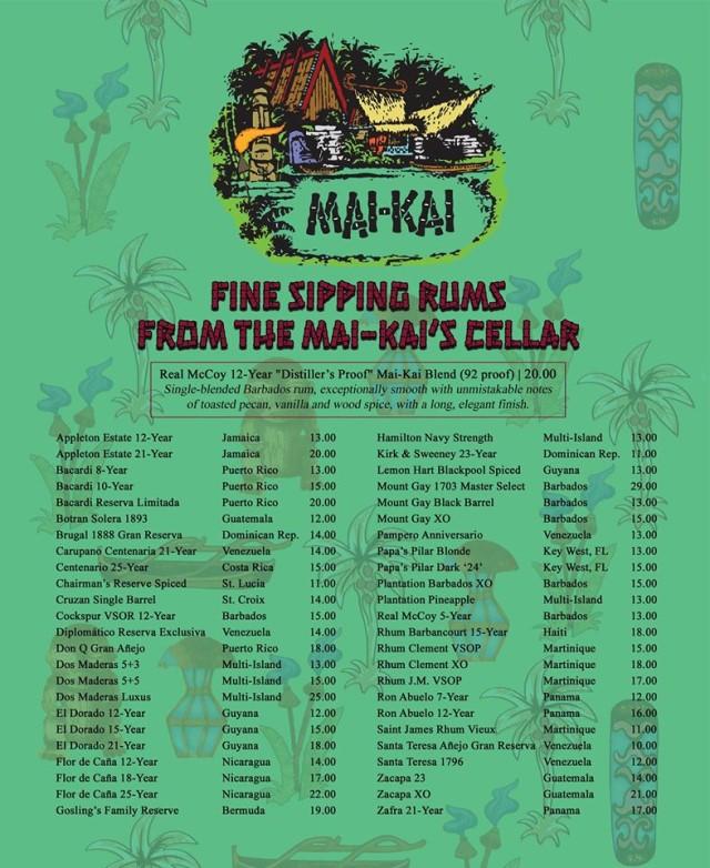 Mai-Kai sipping rum menu, August 2020
