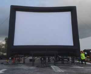 Fort Lauderdale International Film Festival staff set up the inflatable screen.