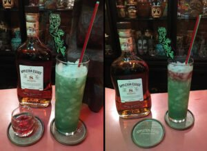 To make the Blood Island Green Potion #2 most appealing, we recommend creating a red rum float by infusing tea with cinnamon and blending with Appleton 8 rum. (Photo by Hurricane Hayward)
