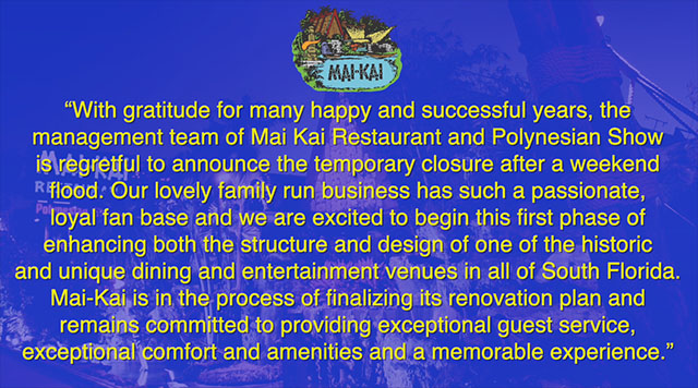 The Mai-Kai salutes 'passionate, loyal fan base' after temporary closure for renovations