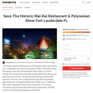 Mai-Kai petition tops 10,000 signatures