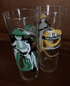 Tiki Underground's fourth anniversary Zombie glass, designed by Kymm Bang