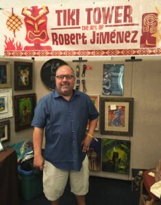 Artist Robert Jimenez is a longtime vendor at The Hukilau in Fort Lauderdale as well as a frequent contributor of artwork for The Mai-Kai. You can find him at the Tiki marketplace on April 17. (Photo by Hurricane Hayward, June 2017)
