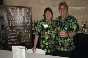 Robin and Robert Burr host a VIP tasting during the 2019 Miami Rum Renaissance Festival. The Burrs will present a rum tasting during The Mai-Kai Tiki Marketplace on April 17. Their signature event is scheduled to return on May 14-15 in Coral Gables. (Photo by Hurricane Hayward)