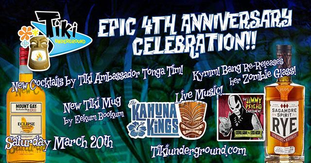 Tiki Underground fourth anniversary celebration