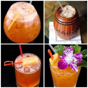The Mai-Kai is batching up four of its most popular tropical cocktails for pick-up in advance of the upcoming Tiki Marketplace. Clockwise from upper left: The Black Magic, Barrel O' Rum, Mai Tai and Jet Pilot will also be available at the event on Saturday, April 17. (Mai-Kai photo)