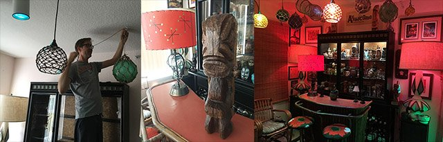 With more than a little help from our friends (including Skinny Jimmy Stingray, left) The Atomic Grog home bar received a new look in 2017. Carving by Jeff Chouinard, aka Surf Soul Tiki. (Atomic Grog photos)