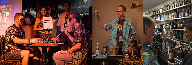 Hukilau memories: Hurricane Hayward competes in a blind tasting (2017), demonstrates Mai-Kai cocktails (2018) and explores rare rums with Steve Remsberg (2019). Also pictured: Mai-Kai manager Kern Mattei. (Atomic Grog photos)