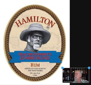 Ed Hamilton shows off the label and talks about his new rum project with Beachbum Berry on a Zoom call on May 14
