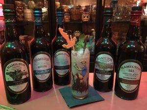 The Atomic Grog's Hamilton Zombie is a tribute to the Caribbean rum importer and the classic Tiki cocktail. It features rums and pimento dram from the Hamilton collection. (Photo by Hurricane Hayward, May 2021)