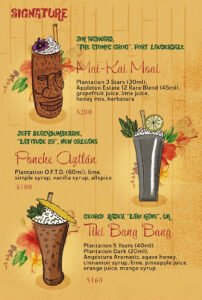 A 2019 menu from Waikiki Tiki Room in Mexico City featured cocktails contributed by noted mixologists from around the world (plus The Atomic Grog)