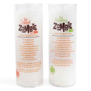 Beachbum Berry's Zombie glasses from Cocktail Kingdom feature Don the Beachcomber's classic 1934 and 1950 recipes