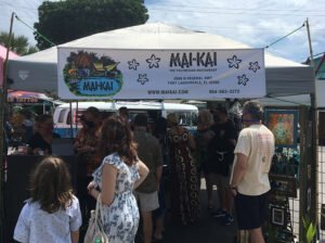 The Mai-Kai merchandise booth at the first Tiki Marketplace on April 17. (Photo by Hurricane Hayward)