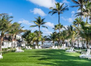 Bungalows surrounding a large outdoor space just steps from the beach that will host rum companies and other sponsors during The Hukilau 2021 at the Beachcomber Resort in Pompano Beach. (Official photo)