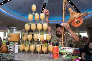 The Hukilau 2018: Daniele Dalla Pola of Italy's Nu Lounge Bar garnishes cocktails during the Tiki Tower Takeover event at Pier Sixty-Six Hotel & Marina. Nowadays, you can find Dalla Pola at his new bar and restaurant, Esotico Miami. (Photo by Chris Kridler)