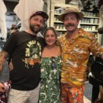 Death or Glory owner Ayme Harrison is flanked by the Luau Lads, Michael Bloom (left) and Kurt Rogers.
