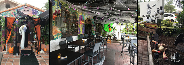 Halloween decor and decorations at the Death or Gory pop-up at Death or Glory in Delray Beach. (Photos by Hurricane Hayward, September 2021)