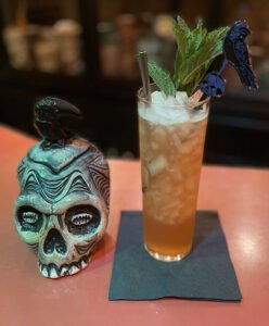 The Final (Destination) Zombie by The Atomic Grog. Death or Glory mug by Tiki Diablo. (Photo by Hurricane Hayward, September 2021)