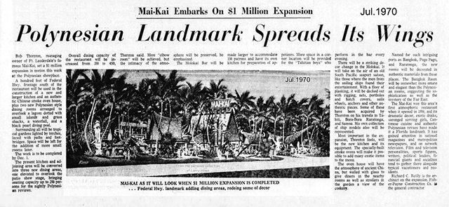 A press resport on the 1970 expansion of The Mai-Kai