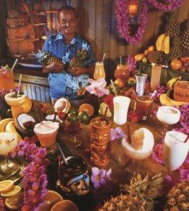 A 1979 photo of original Mai-Kai mixologist Mariano Licudine in The Molokai bar with his signature tropical drinks