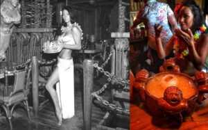 The Mai-Kai's Mystery Girl in the 1970s and today. (2019 photo by John Atkins)
