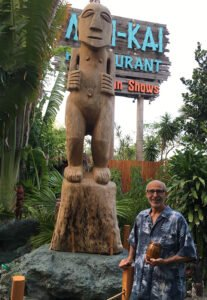 A Tiki created by local artist Will Anders is the most recent carving installed in The Mai-Kai's garden. (Photo by Hurricane Hayward, April 2017)